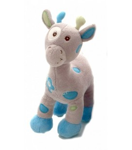 Doudou girafe grise bleue Bebisol Arthur et Lola 26 cm
