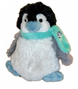 Peluche Doudou - PINGOUIN blanc gris GIPSY - Echarpe bleue - Igloo brodé 18 cm