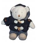 Doudou Ours blanc Salopette manteau bleu Nicotoy 30 cm 581/1525