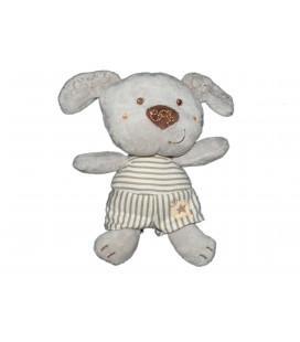 Doudou Chien gris Vêtir 16 cm Etoile rayures