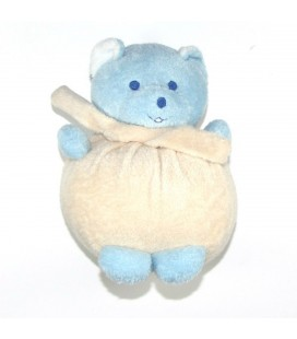 Doudou peluche OURS boule Beige bleu MUSTI de Mustela 20 cm 8608