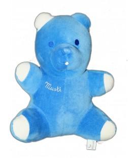 Doudou peluche OURS bleu MUSTI de Mustela 24 cm