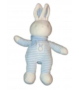 Doudou LAPIN blanc bleu rayures - Bébé KLORANE 36 cm