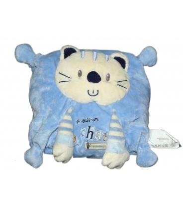 Doudou Coussin Je suis un chat comme ça bleu Nicotoy Kiabi