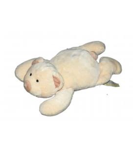 Doudou chien blanc cassé écru crème allongé Orchestra 18 cm