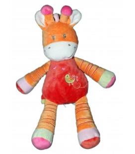 Peluche doudou Girafe Vache orange rose Oiseau - Nicotoy - 30 cm - 579/5541