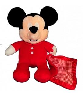 Peluche doudou MICKEY Disney Nicotoy rouge - Mouchoir couverture vichy - 35 cm