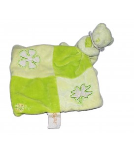 Doudou Ours vert Trefle Feuille BABY NAT Mouchoir