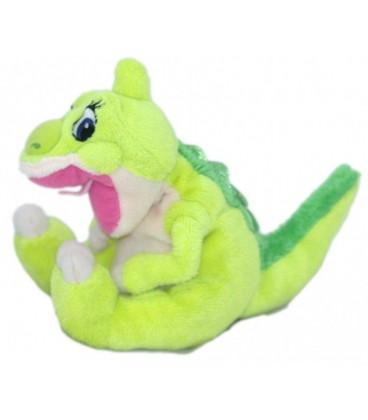Doudou peluche Le Petit Dinosaure vert et rose - Gipsy - 16 cm