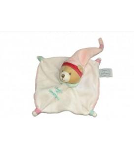 DOUDOU ET COMPaGNIE - Doudou Plat Carré OURS Blanc Crème Vert Bonnet rose 15cm x 15cm