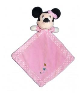 Doudou rose MINNIE Disney Coccinelle Papillon Fleur Nicotoy Simba Dickie Etiquette tissu 28 x 35 cm