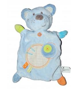 Doudou plat chien chat ours bleu ronds croix vichy Nicotoy 579/9523