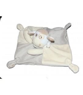 Doudou plat Mouton beige pois MOTS D ENFANTS