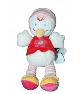 Doudou poussin Pingouin rose Pull rouge Fleur - Nicotoy Kiabi Avda 28 cm