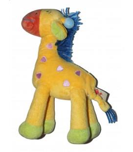Peluche doudou Girafe orange jaune rose Crinière laine bleue - Nicotoy - 24 cm 579/5150