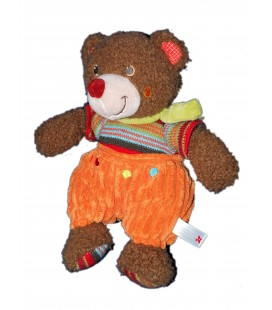 Doudou Peluche Ours marron nez rouge Nicotoy Salopette orange 26 cm 579/1422