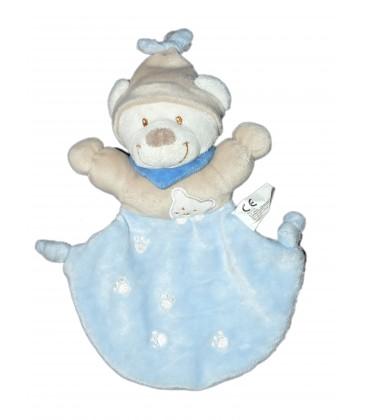 Doudou plat Ours bleu beige Ourson empreintes Nicotoy 579/0163