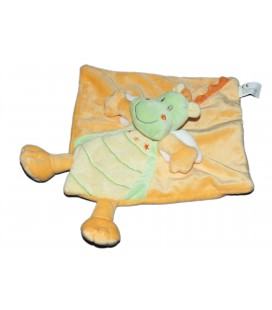 Doudou plat DRAGON Vert orange jaune - Nicotoy 579/8851