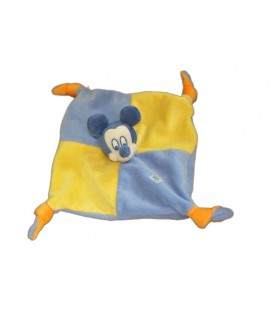 Doudou plat MICKEY - Bleu jaune orange - Disney Baby - 4 noeuds