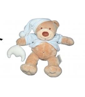Doudou peluche Ours beige bonnet bleu lune NATTOU 26 cm 8781