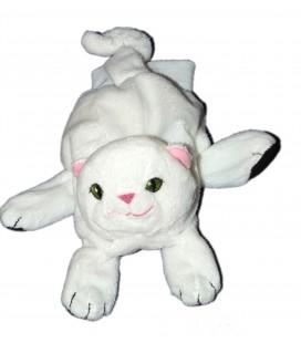 Doudou Marionnette chat blanc Noir Ikea Yeux verts