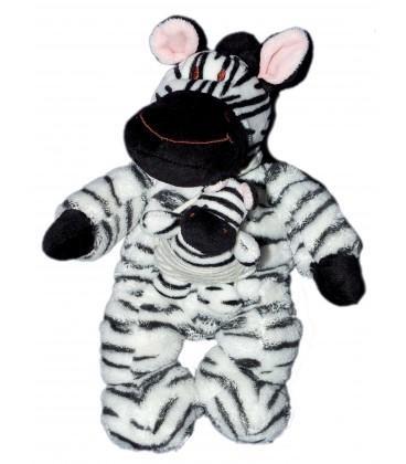 Doudou Peluche Zèbre noir blanc et son bébé NICOTOY H 24 cm 579/8104