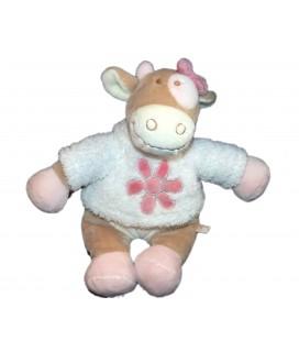 Doudou peluche Vache Lola rose beige Fleur NOUKIE'S Noukies H 22 cm assis