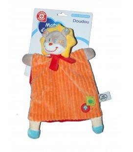 Doudou plat Lion orange rouge jaune Pomme Champignon MOTS D'ENFANTS Siplec 579/1961