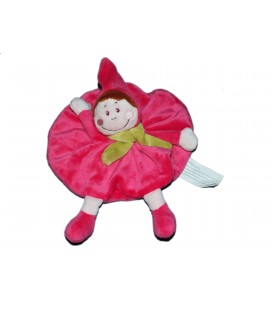 Doudou plat rond Fille lutin rose Fushia Echarpe verte - Kimbaloo La Halle !