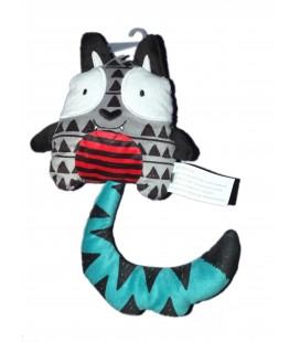 Doudou chat gris bleu rouge La Halle ! 17 cm