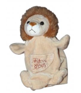 HISTOIRE D'OURS Doudou marionnette Lion beige marron