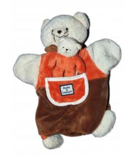 DOUDOU ET COMPAGNIE - Marionnette CHAT et son bébé - Rouge blanc marron