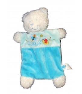 Doudou plat OURS bleu tuquoise Papillon Maison TEX Baby CMI Carrefour