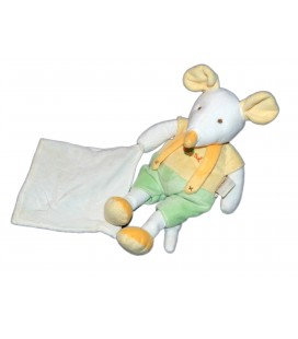 Doudou Doudou Souris Vert jaune mouchoir Baby Nat' 28 cm