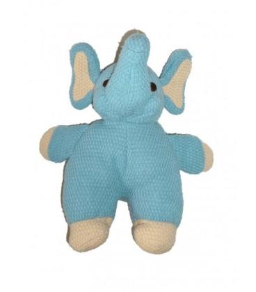 NICOTOY - Doudou peluche ELEPHaNT bleu Tricot - 27 cm