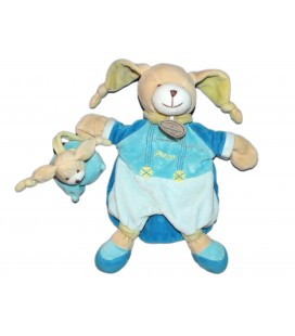 Doudou Marionnette Lapin bleu Pinou DOUDOU ET COMPAGNIE