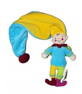 Doudou Lutin bleu jaune vert Dim Dam Doum Bébé Confort Katherine Roumanoff Long bonnet