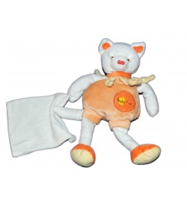 Doudou Chat orange saumon jaune Mouchoir Baby Nat' 28 cm