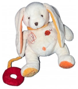 Doudou lapin Blanc Orange anneau rouge Baby Nat' 23 cm