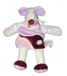 Doudou Marionnette Souris rose Mauve Bordeaux Baby Nat' 28 cm