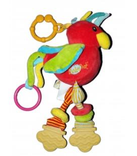 Doudou jouet d'éveil Hochet Oieau rouge Baby Nat' 30 cm Grelot