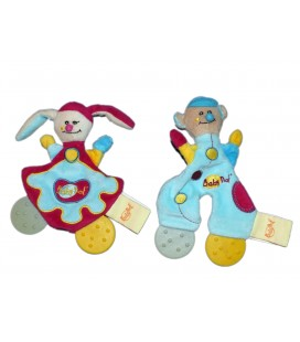 Lot de 2 doudous Anneau de dentition clown lapin bleu bordeaux fushia Baby Nat'