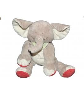 Doudou Peluche Elephant gris Foulard vert BENGY Amtoys 22 cm