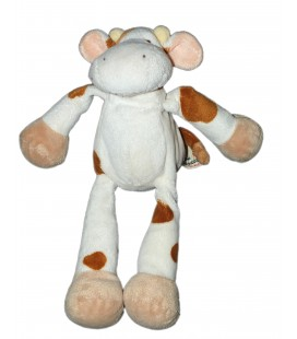 Doudou peluche Vache Blanche taches marron Nicotoy The Baby Collection 23 cm