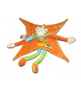 DOUDOU ET COMPAGNIE - Vache orange Vert bleu Feuille Tatoo 35 cm