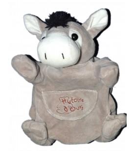HISTOIRE D'OURS Doudou marionnette Ane cheval gris