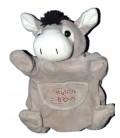 HISTOIRE D OURS Doudou marionnette Ane cheval gris