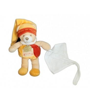 DOUDOU ET COMPaGNIE - OURS orange Cannelle - 16 cm - Mouchoir Blanc