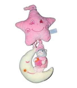 Doudou peluche musicale Chat rose blanc GIPSY - Lune Etoile