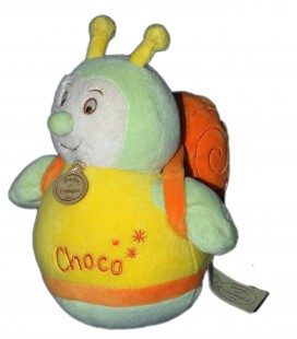 DOUDOU ET COMPAGNIE - Escargot Choco jaune vert Culbuto 20 cm